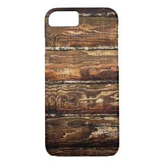 DARK STAINED WOOD WALL iPhone 7 CASE