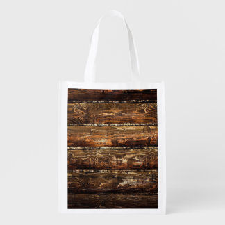 DARK STAINED WOOD WALL REUSABLE GROCERY BAG