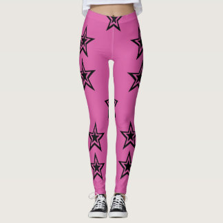 Dark Star Noir on Pink Leggings