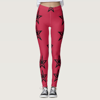 Dark Star Noir on Red. Leggings