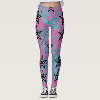 Dark Star on blue and pink texture. Leggings