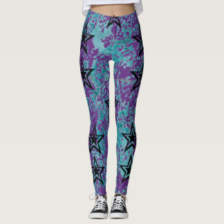 Dark stars on blue and purple textures. leggings