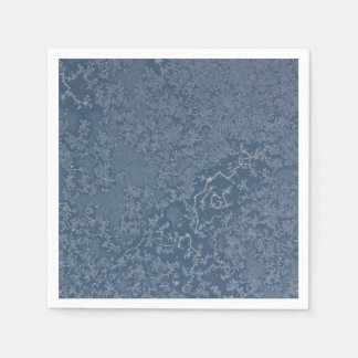 Dark Steel Blue Icy Crystals Paper Napkin