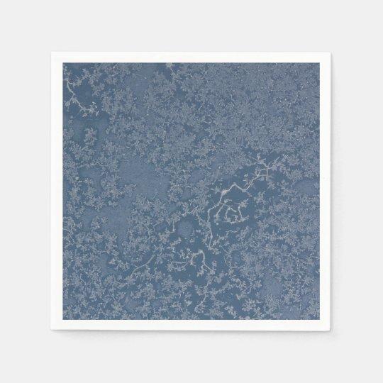 Dark Steel Blue Icy Crystals Paper Napkin