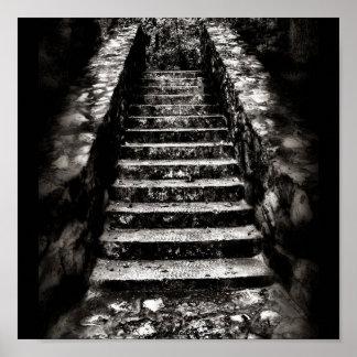 dark stone stairs poster