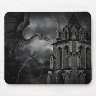 Dark stormy night gothic fantasy dragon mouse pad