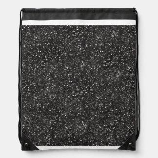 Dark Stylish Silver Grey Glitter Drawstring Bags