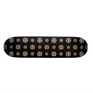 Dark Stylized Floral Pattern Skateboard Deck