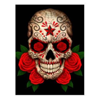 Dark Sugar Skull with Red Roses Postcard
