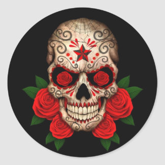 Dark Sugar Skull with Red Roses Round Sticker