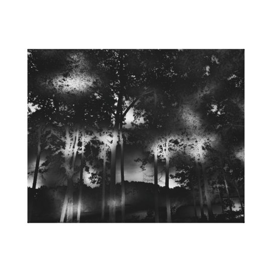 Dark Surreal Dreamscape Trees, Lake, Night, Moon Canvas Print
