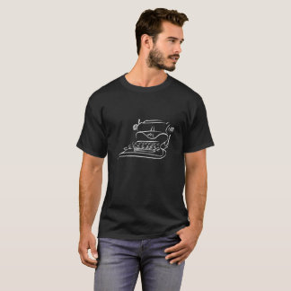 Dark T-shirt with White Vintage Typewriter Sketch