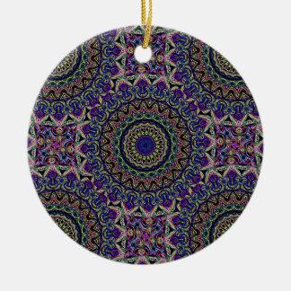 Dark Tapestry Tiled Kaleido Pattern Ceramic Ornament