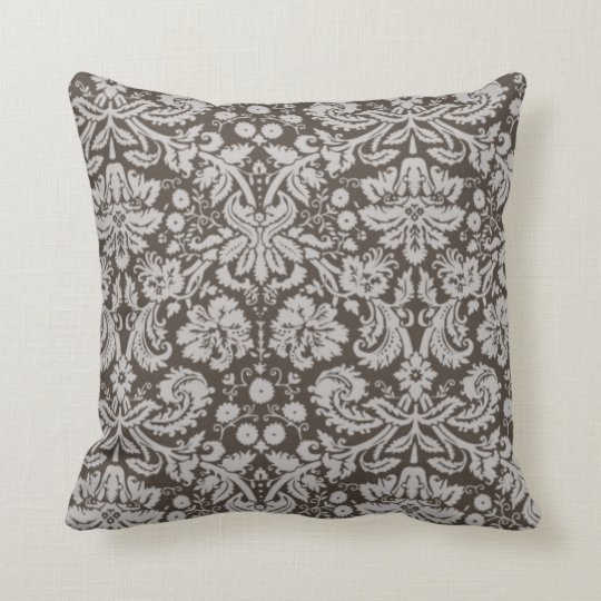 Dark Taupe, Brown Damask Pattern Throw Pillow