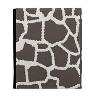 Dark Taupe Giraffe Animal Print iPad Folio Cover