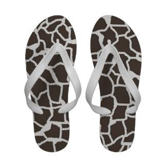 Dark Taupe Giraffe Animal Print Flip-Flops