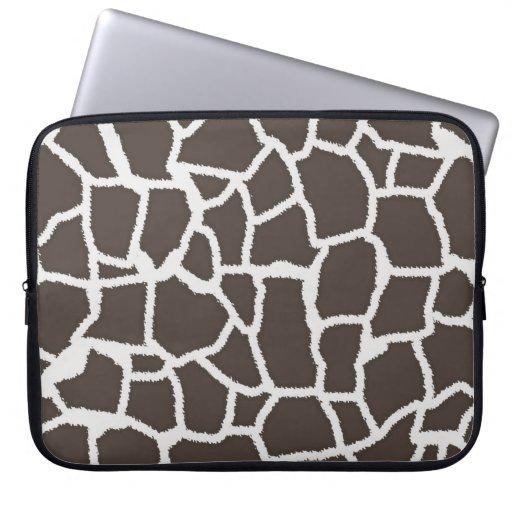 Dark Taupe Giraffe Animal Print Laptop Sleeve