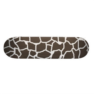 Dark Taupe Giraffe Animal Print Skateboards