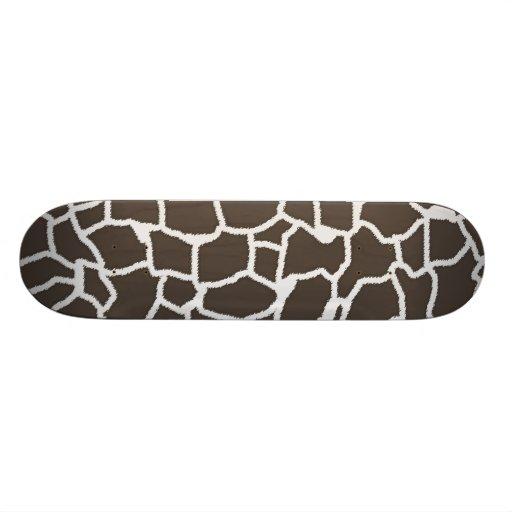 Dark Taupe Giraffe Animal Print Skateboards