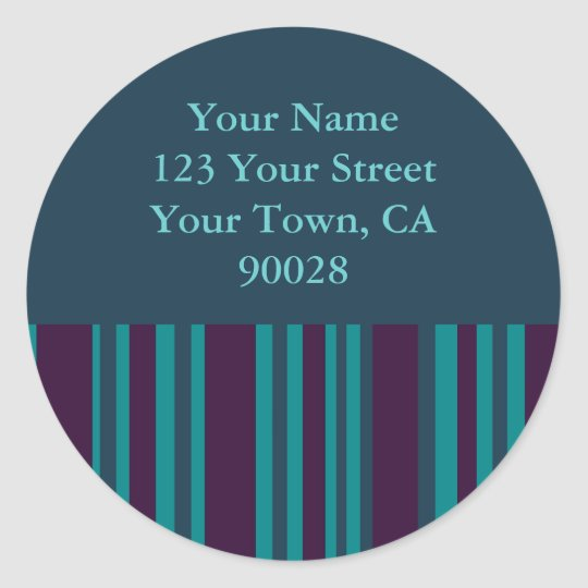 dark teal and purple striped address labels