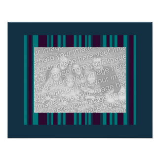 Dark teal and purple stripes photo frame poster