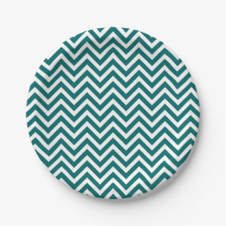 Dark Teal and White Chevron 7 Inch Paper Plate