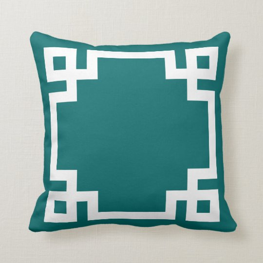 Dark Teal and White Greek Key Border Throw Pillow