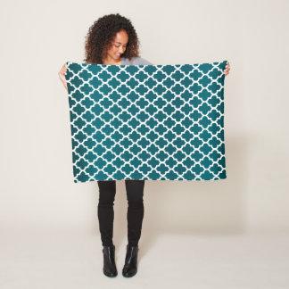 Dark Teal and White Quatrefoil Pattern Fleece Blanket