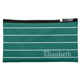 Dark Teal and White Stripe Personalized Cosmetic Bag