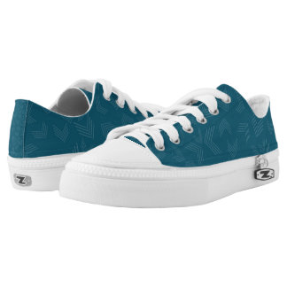 Dark Teal And White Zigzag Low-Top Sneakers