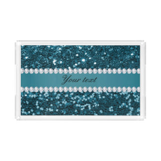 Dark Teal Blue Faux Glitter and Diamonds Acrylic Tray