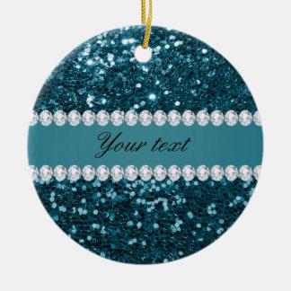 Dark Teal Blue Faux Glitter and Diamonds Ceramic Ornament
