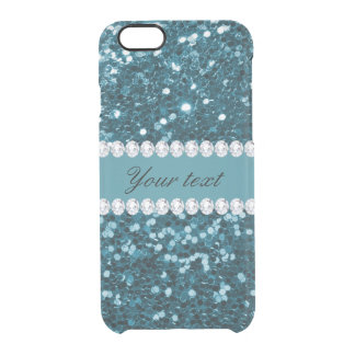 Dark Teal Blue Faux Glitter and Diamonds Clear iPhone 6/6S Case