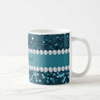 Dark Teal Blue Faux Glitter and Diamonds Coffee Mug