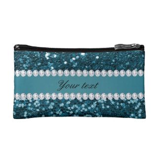 Dark Teal Blue Faux Glitter and Diamonds Cosmetic Bag