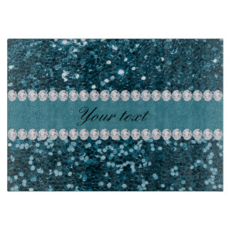 Dark Teal Blue Faux Glitter and Diamonds Cutting Board