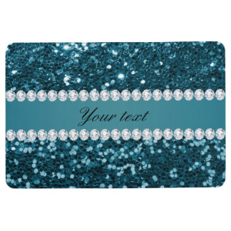 Dark Teal Blue Faux Glitter and Diamonds Floor Mat