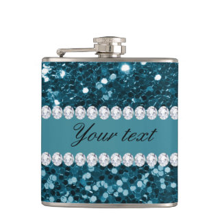 Dark Teal Blue Faux Glitter and Diamonds Hip Flask
