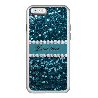 Dark Teal Blue Faux Glitter and Diamonds Incipio Feather® Shine iPhone 6 Case
