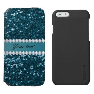 Dark Teal Blue Faux Glitter and Diamonds Incipio Watson™ iPhone 6 Wallet Case