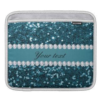 Dark Teal Blue Faux Glitter and Diamonds iPad Sleeve