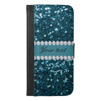 Dark Teal Blue Faux Glitter and Diamonds iPhone 6/6s Plus Wallet Case