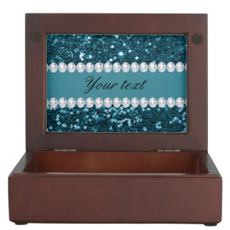 Dark Teal Blue Faux Glitter and Diamonds Keepsake Box
