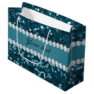 Dark Teal Blue Faux Glitter and Diamonds Large Gift Bag