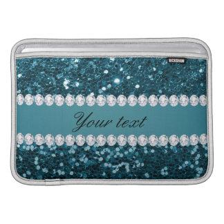 Dark Teal Blue Faux Glitter and Diamonds MacBook Sleeve