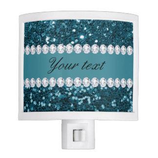 Dark Teal Blue Faux Glitter and Diamonds Night Lite