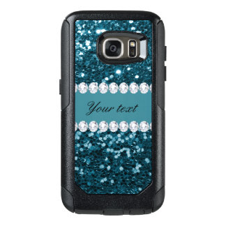 Dark Teal Blue Faux Glitter and Diamonds OtterBox Samsung Galaxy S7 Case