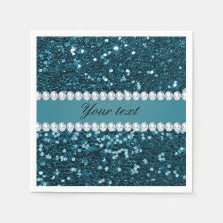 Dark Teal Blue Faux Glitter and Diamonds Paper Napkin