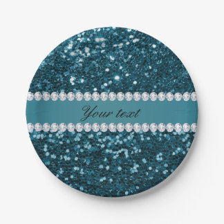 Dark Teal Blue Faux Glitter and Diamonds Paper Plate