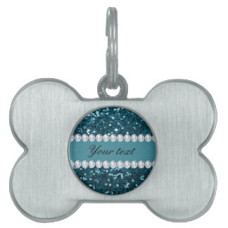 Dark Teal Blue Faux Glitter and Diamonds Pet Tag